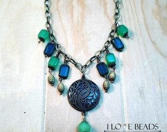 Brass statement necklace-antique gold statement necklace-czech glass, green jade-green blue and brass statement necklace-wire wrapped