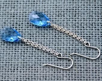 Sky Blue Swarovski Crystal Teardrop Earrings