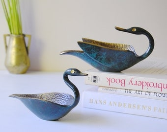 Midcentury Modern Brass Swan Dishes. Pal-Bell Israel Verdigris. Retro Brass Home Decor. 1950s Judaica. Set of Two.