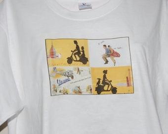 Men's T-Shirt - Color Printed on Cotton-Vintage VESPA Poster Men's Large