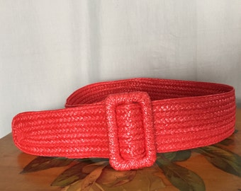Red Woven Belt Vintage Women's size Small or Medium