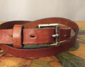 Brown Leather Skinny Belt Vintage Metal Buckle