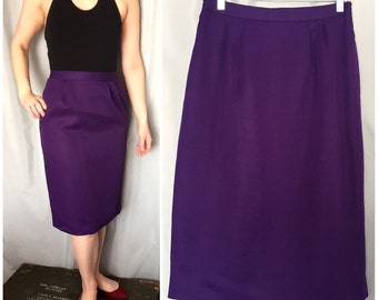 Purple Pencil Skirt Purple Vintage Skirt Women's Medium