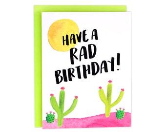 Rad Birthday, Rad Bday Card, Cactus Birthday Card, Cactus Bday Card, Watercolor Bday Card, Cactus, BFF Bday Card, Friend Birthday Card