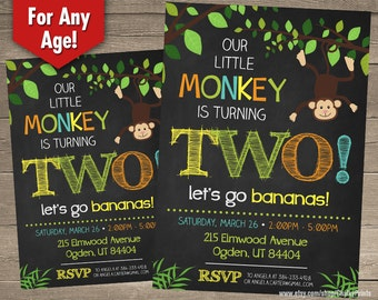 Safari Birthday Invitation, Monkey Birthday Invitation, Jungle Birthday Invitation, Second Birthday Invitation Printable