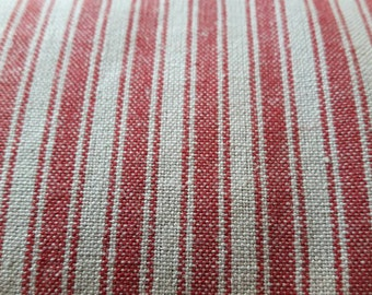 French ticking fabric red and linen/grey look stripes 63 inches wide