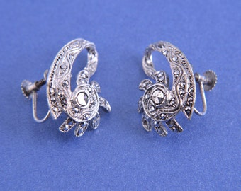 1940's Screw On Earrings With Marcasite (3864)