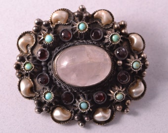Silver Vintage Brooch With Rose Quart And Faux Pearls, Garnets And Turquoise