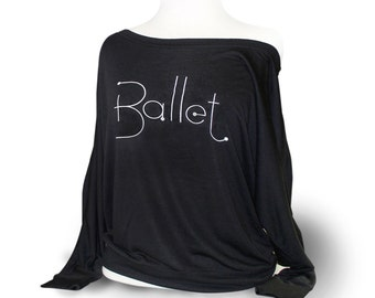 Long Sleeve Dance Top for ballet. Black flowy dance top for rehearsal or class.  This is a soft and flowy top.