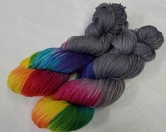 Stormy Rainbow Handdyed Cashmere Sock Yarn