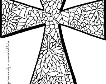 christian coloring book page cross - Christian Coloring Book