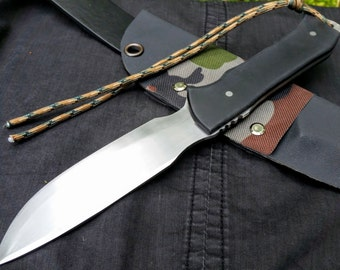 Tactical Sting- custom survival knife with black micarta handle and a custom kydex sheath. Free shipment!