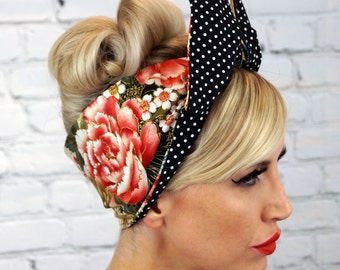 Vintage Flower Rockabilly Pin up  Wide Reverisble Wired Headband