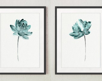 Dusty Teal Lotus set 2 Flowers, Abstract Lotuses Watercolor Painting, Modern Minimalist Art Print Woman Gift Idea, Zen Meditation Poster