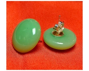 Kiln fused blue green round glass earrings