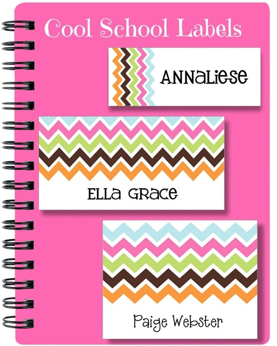 Chevron Labels, School Labels, Back to School, Multi Chevron, Personalized Labels, Tags, Custom Labels, Personalized Gift Tags