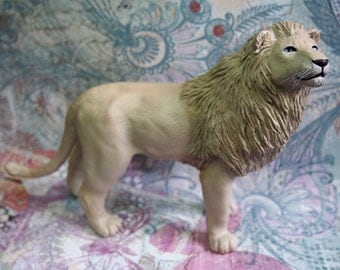 OOAK (one of a kind) White lion polymer clay sculpture