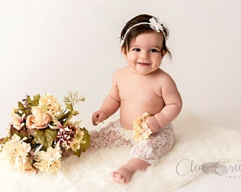 Stretch Lace Newborn Pants and Lace and Pearl Tieback, 9 COLORS,   0 - 6 Month Photo Prop, Baby Photo Prop.
