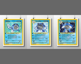 Pokemon Base Set 1 *Poilwag* *Poliwhirl* *Poliwrath* Cards A3+ A4 or A5 PRINT *CHOOSE*