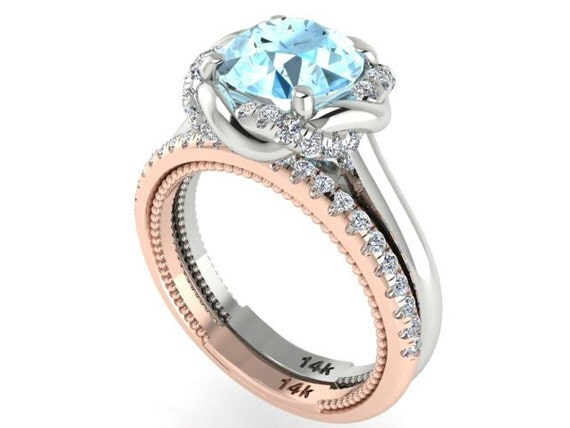 Wedding And Engagement Ring Set Natural Aquamarine And