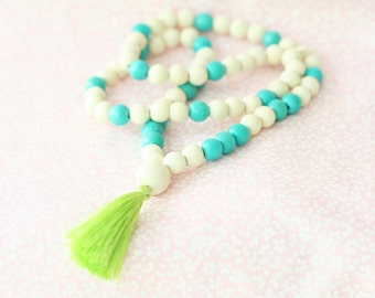 Girls Beaded Tassel Necklace, Girls Lime Tassel Necklace, White and Turquoise Bead Necklace, Tassel Necklace, Statement Necklace