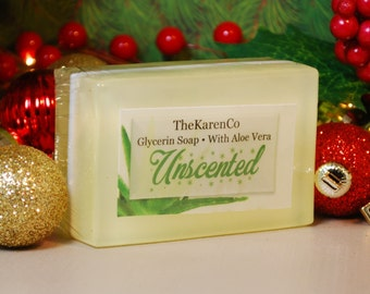 Unscented, Glycerin Soap, Aloe Vera and Olive Oil Soap