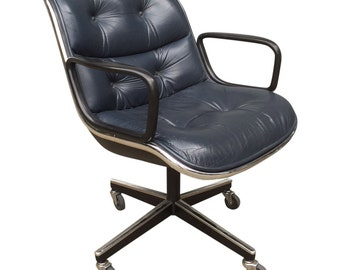 Charles Pollock for Office Chairs in Blue Leather — 4 Available