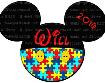 IRON-ON Mickey Pants Ears - Autism Awareness! - Mouse Ears Tshirt Transfer