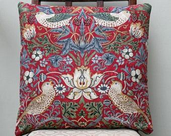 "William Morris Strawberry Thief Crimson Cushion Cover 16"" x 16"" - Sanderson Fabric"
