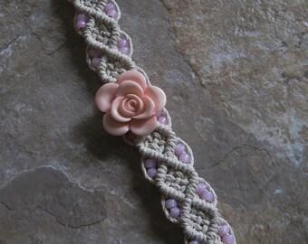 Flower Macrame Natural Hemp Bracelet