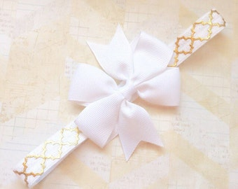 White and gold metalic headband,bow headband,white pinwheel bow,toddler headband,baby bow,infant headbands,newborn headbands