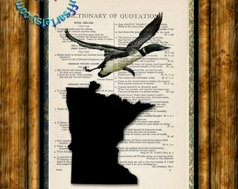 MINNESOTA State Map, Bird, Flower & Flag - Vintage Dictionary Page Art Print Upcycled Page Print