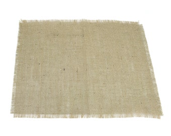 """Natural / Tan Glitter Burlap Table Placemats 14"""" x 18"""" Pack of 6, Great for the Holidays, fringed edges (BFG-P12)"""