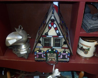 Vintage Ginger Bread House Lamp, Stained Glass or Plastic