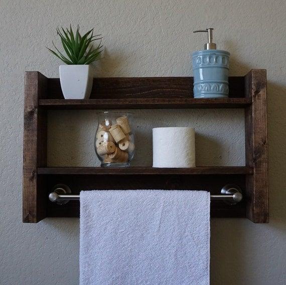 Modern rustic 2 tier bathroom shelf w 18 brushed by keodecor - 2 tier bathroom shelf with towel bar ...