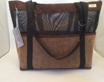 Tan (Faux) Leather - Large Screen Tote