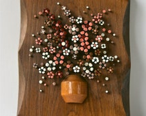 Darling 1980s Folk Art Plaque, Nail Knacks, Flowers Made From Painted Nails, Tishom Enterprises Ohio, 1981, Coral, Rust Red, Cream, & Tan