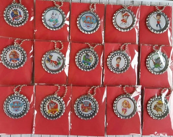 Adorable Paw Patrol Bottle cap necklace Birthday Party Favors set of 8/16/24/32
