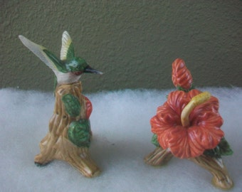 Vintage Hummingbird and Flower Salt and Pepper Shakers