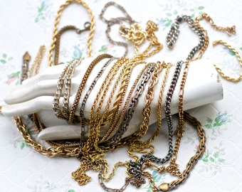 Chunky Chains - Vintage Necklaces-  Instant Collection of 12 - jewelry assemblage Component