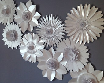 Pearlescent White Giant Paper Flower Backdrop, wall decoration, photography prop