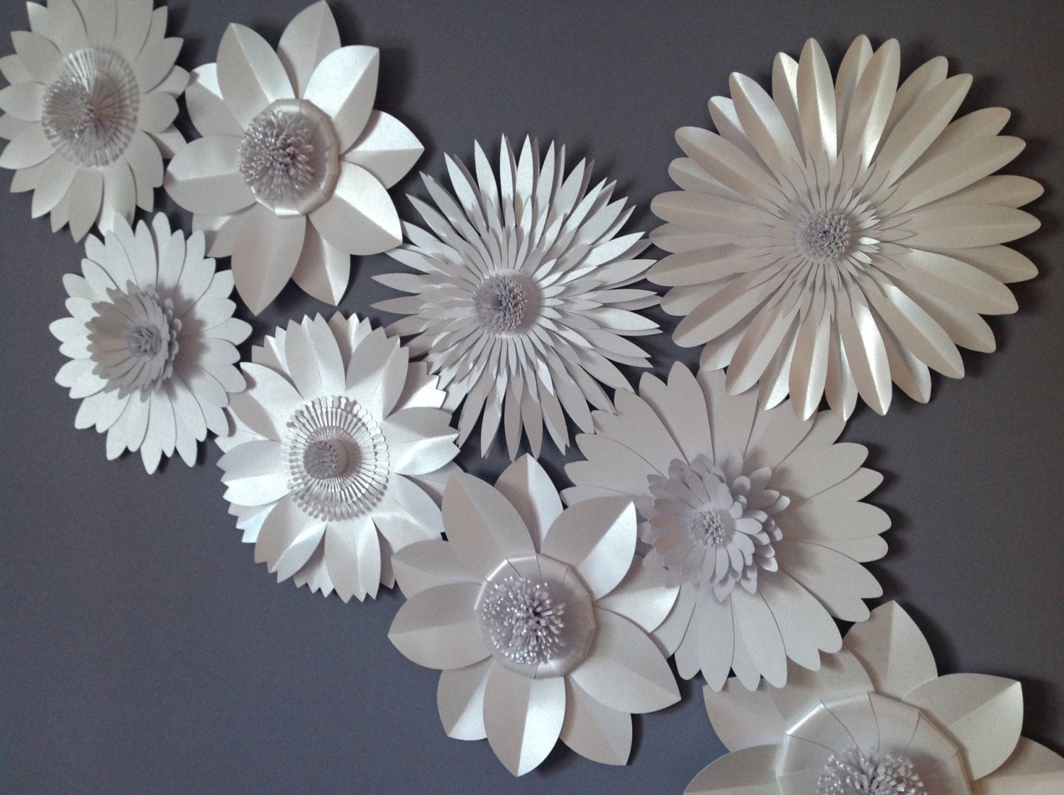 pearlescent white giant paper flower backdrop wall