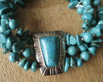 "Vintage Southwestern Style Sterling Silver Layered Turquoise and TripleTurquoise Beads Elastic Bracelet 7-8"" (1162)"