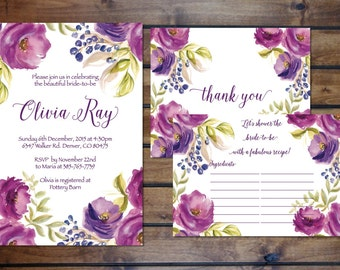 Plum + Fuchsia Bridal Shower Invitation