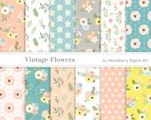 """Floral Digital Papers """" VINTAGE FLOWERS """"  Floral Papers, Commercial Papers, Flowers Digital Papers,  Scrapbook Paper, Pastel Digital Papers"""