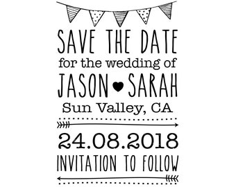 "Save the Date personalised Wedding Stamp, custom names, location and date, wedding RSVP, custom wedding stamp, bunting, 2""x3"" (cstd3)"