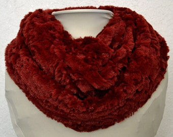 FREE SHIPPING! Minky Red Infinity Scarf, Soft and Warm, Circle Scarf, Tube Scarf Ready to Ship!