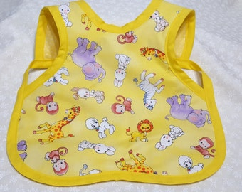 Bapron/BABY BIB/With Diaper Strap/Zoo Animals/Yellow/Reversible Yellow with White Polka Dots/Craft Smock/Baby Accessories/Nursery B220