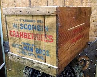 Vintage Wisconsin Cranberries Wooden Crate