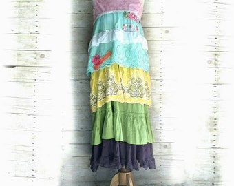 Pink Sunshine Shabby colorful floral lace layered peasant repurposed country ruffle Boho altered mori maxi Dress upcycled romantic